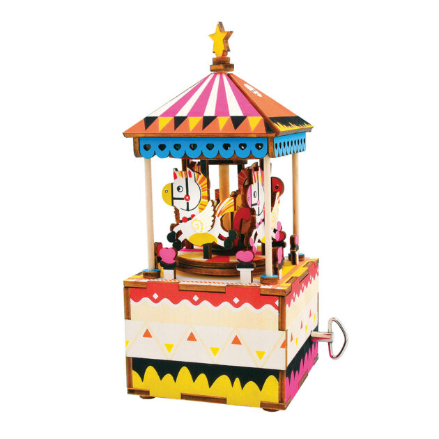 3D WOODEN PUZZLE -MUSIC BOX- Merry Go Round
