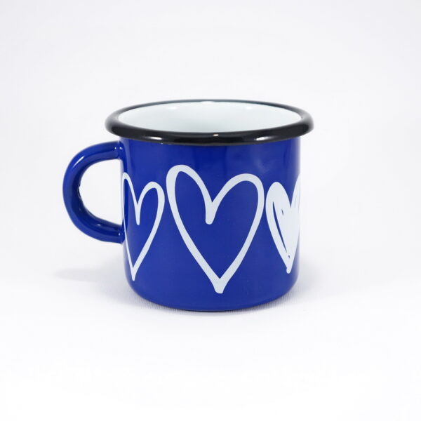 Κούπα Εμαγιέ Blue Hearts 8cm – Smaltum