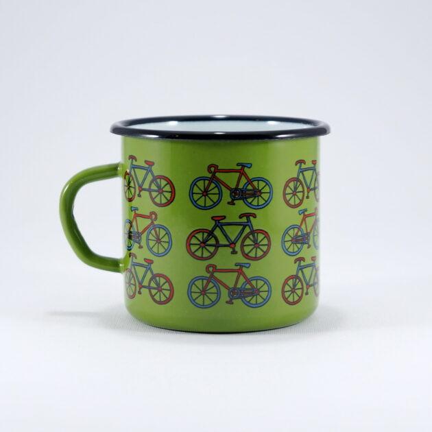 κούπα εμαγιέ με ποδήλατα πράσινη smaltum